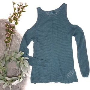 PrAna Teal Invision Yoga Cold Shoulder Sweater